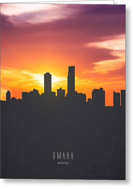 Omaha Nebraska Sunset Skyline 01 Greeting Card by Aged Pixel