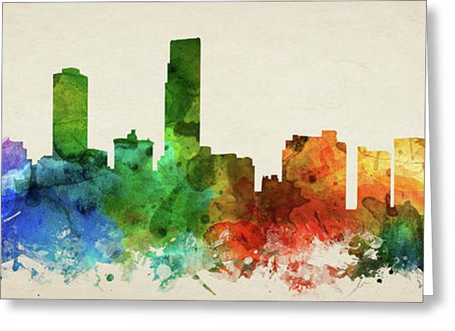 Omaha Skyline Panorama Usneom-pa03 Greeting Card by Aged Pixel
