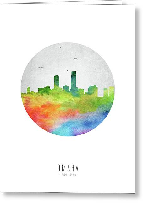 Omaha Skyline Usneom20 Greeting Card by Aged Pixel