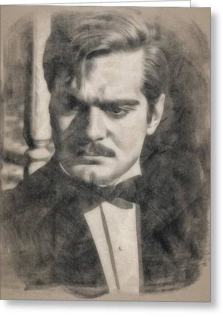 Omar Sharif By Js Greeting Card by John Springfield