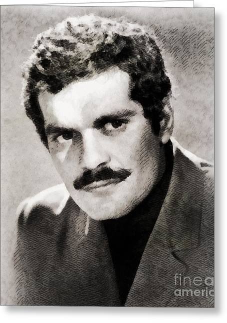 Omar Sharif, Vintage Actor By John Springfield Greeting Card by John Springfield