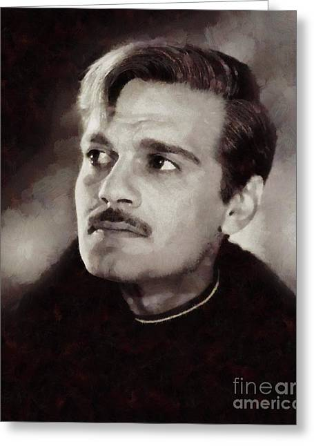 Omar Sharif, Vintage Actor Greeting Card by Sarah Kirk