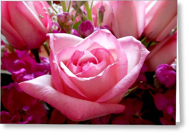 Ombre Pink Rose Bouquet Greeting Card
