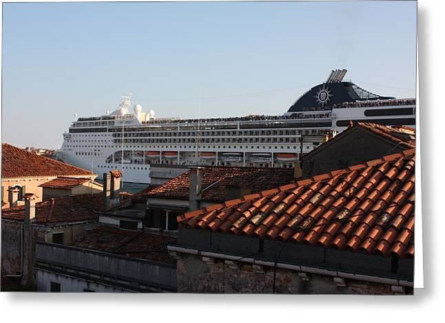 Omg There Is A Cruise Ship In My Backyard Greeting Card by Pat Purdy