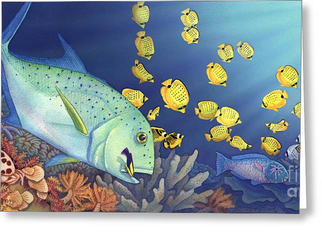 Omilu Bluefin Trevally Greeting Card by Tammy Yee