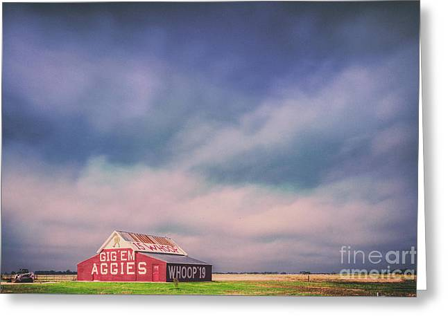 Ominous Clouds Over The Aggie Barn In Reagan, Texas Greeting Card