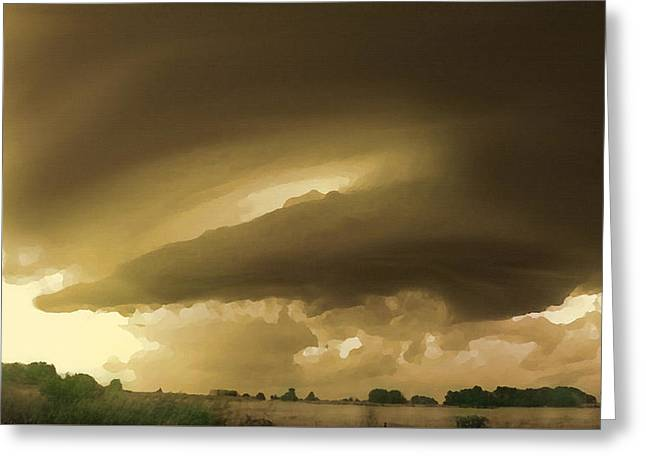 Greeting Card featuring the digital art Ominous Oklahoma Sky by Shelli Fitzpatrick