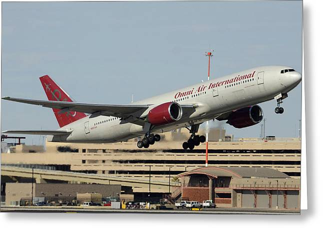 Omni Air International Boeing 777-222 N927ax Phoenix Sky Harbor January 3 2015 Greeting Card by Brian Lockett