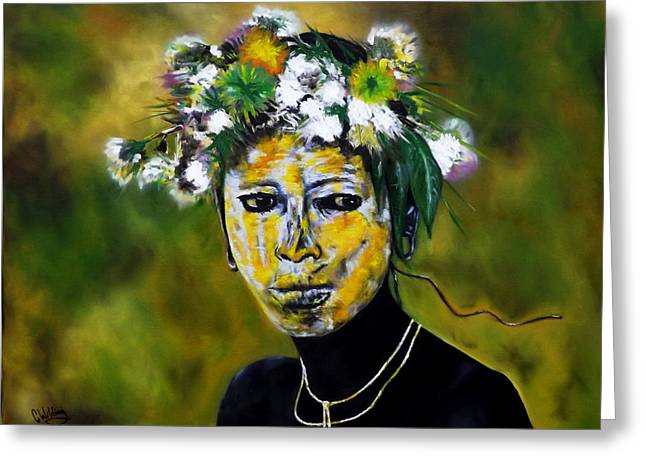 Omo Valley Tribal Face Paint Greeting Card