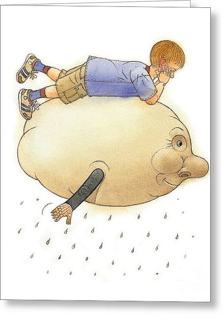 On A Cloud Greeting Card by Kestutis Kasparavicius
