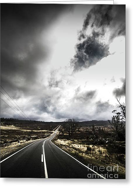 On A Dark Deserted Highway Greeting Card