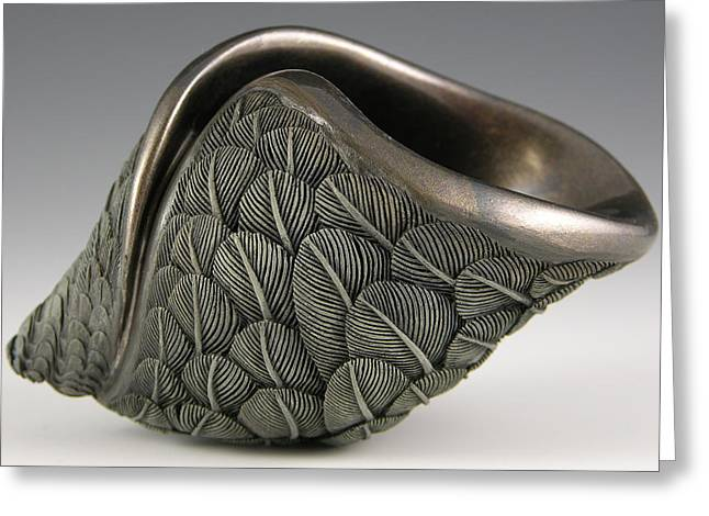 Feathers Sculptures Greeting Cards - On a Dark Wing of a Wave Greeting Card by Jacques Vesery
