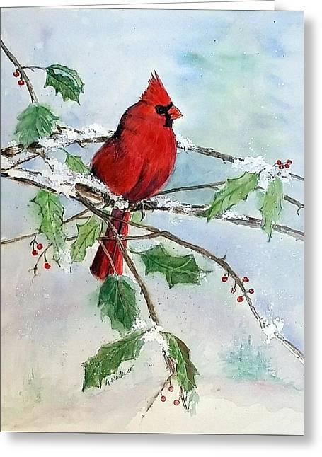On A Snowy Perch Greeting Card