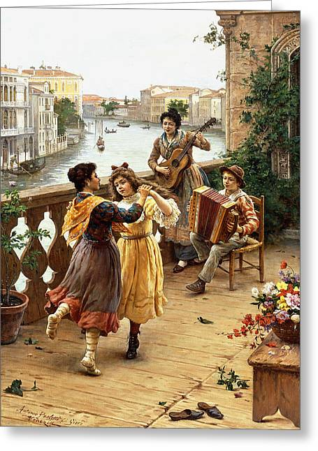 On A Venetian Balcony Greeting Card by Antonio Paoletti