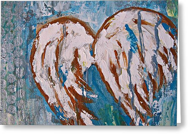 On Angel Wings Greeting Card