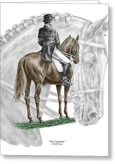 Collection Drawings Greeting Cards - On Centerline - Dressage Horse Print color tinted Greeting Card by Kelli Swan