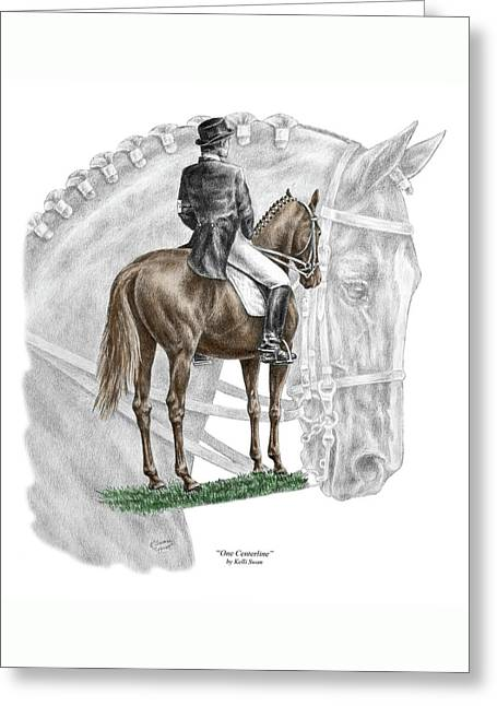 On Centerline - Dressage Horse Print Color Tinted Greeting Card by Kelli Swan