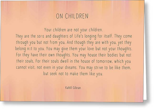 On Children By Kahlil Gibran Greeting Card