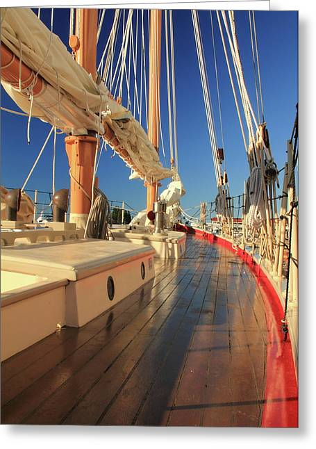 On Deck Of The Schooner Eastwind Greeting Card by Roupen  Baker