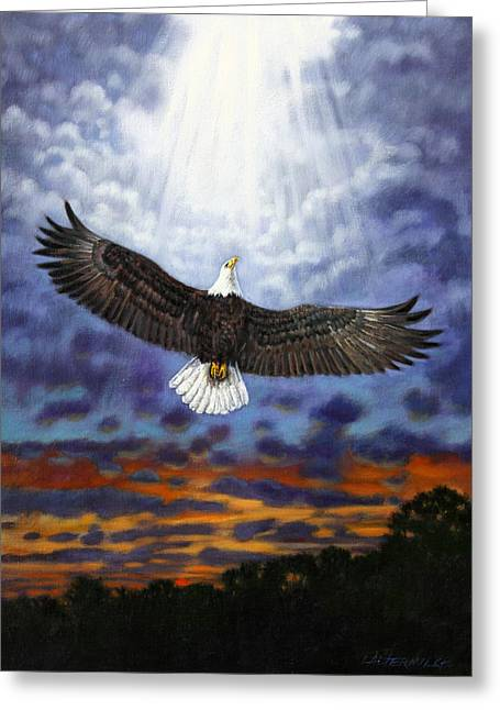 On Eagles Wings Greeting Card by John Lautermilch