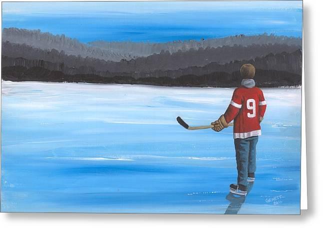 On Frozen Pond - Gordie Greeting Card