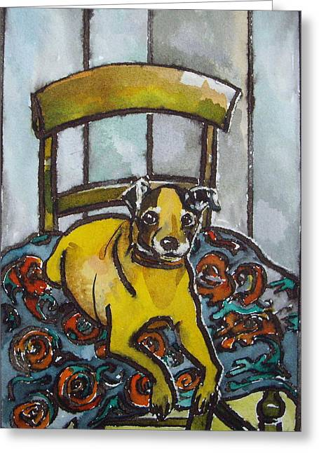On His Masters Chair Greeting Card by Victoria Glover