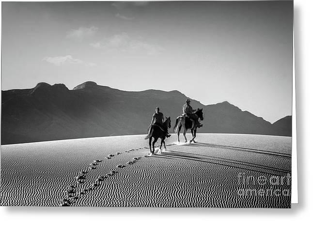 On Horseback At White Sands Greeting Card