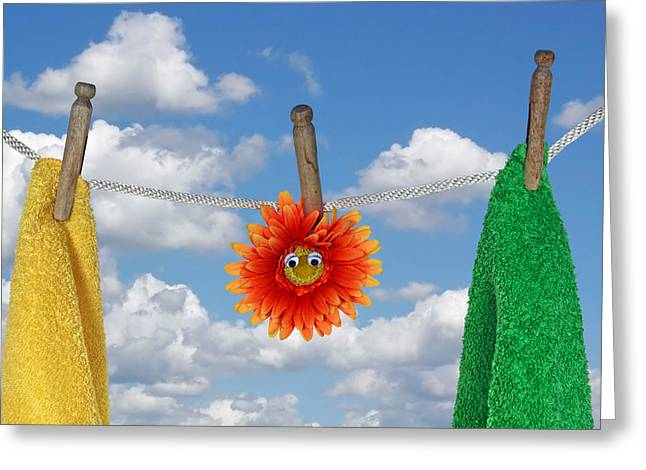 On Line Greeting Card by Maria Dryfhout