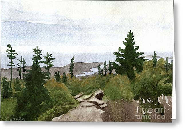 Greeting Card featuring the painting On Mount Desert Island by Robert Coppen
