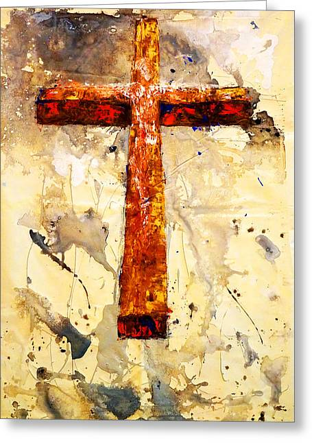 On That Old Rugged Cross Greeting Card by Giorgio Tuscani