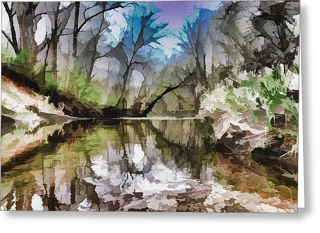On The Bank Greeting Card by Tom Druin