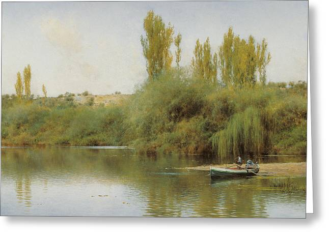 On The Banks Of The Guadara With A Boat Greeting Card by MotionAge Designs