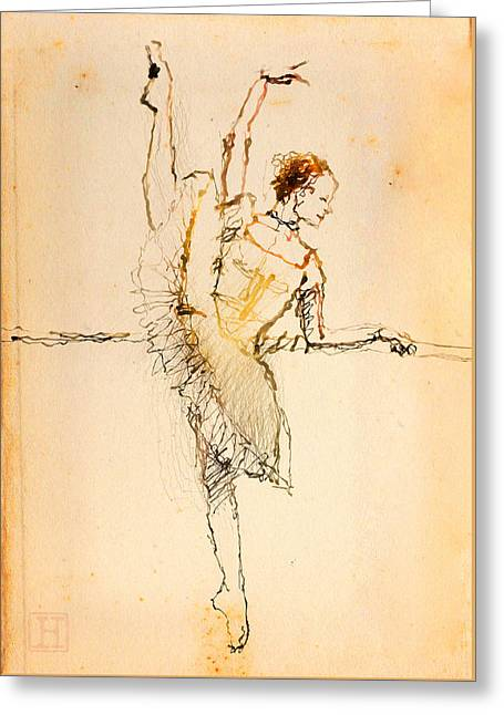 On The Barre Greeting Card by H James Hoff