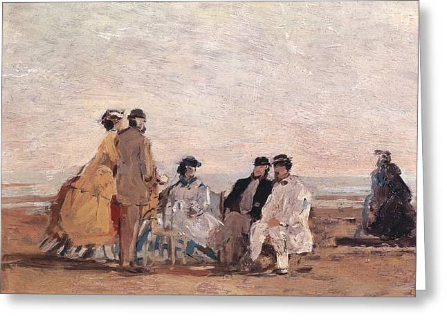 Boudin Greeting Cards - On the Beach at Trouville Greeting Card by Eugene Louis Boudin