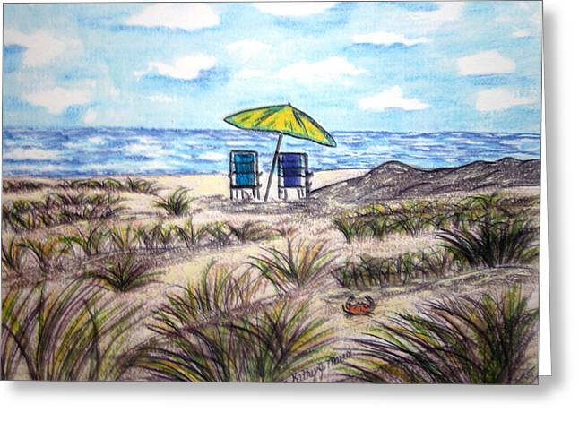 Greeting Card featuring the painting On The Beach by Kathy Marrs Chandler