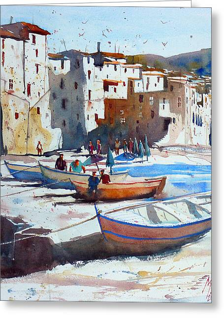 On The Beach Of Cefalu Greeting Card by Andre MEHU