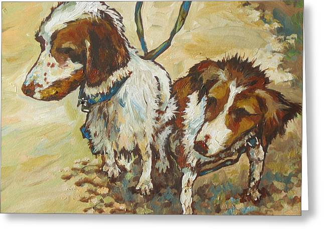 Leash Greeting Cards - On The Beach Greeting Card by Sandy Tracey