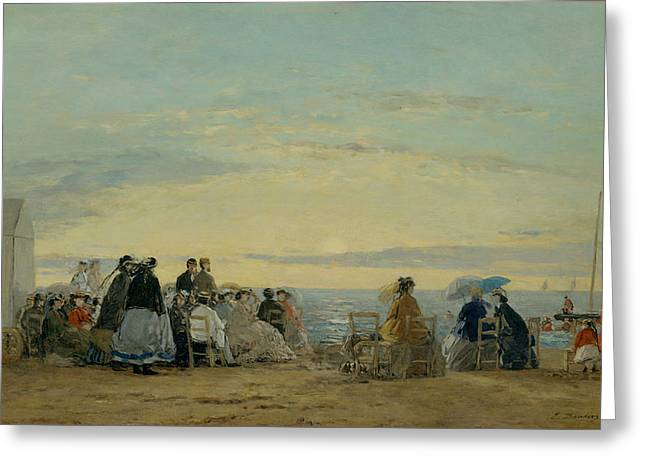 On The Beach, Sunset Greeting Card by Eugene Boudin