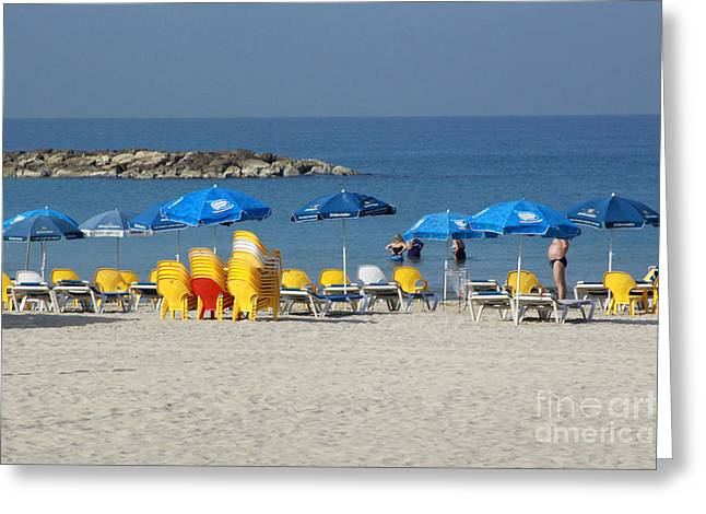 On The Beach-tel Aviv Greeting Card