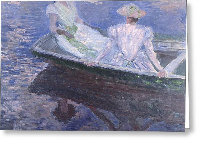 On The Boat 1887 Greeting Card by Claude Monet