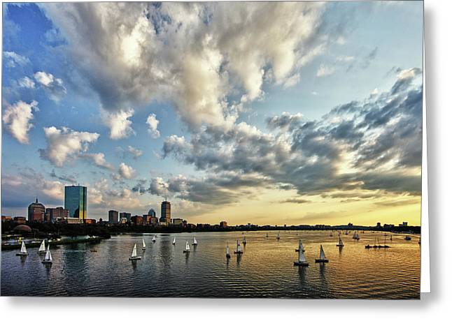 Charles River Photographs Greeting Cards - On The Charles II Greeting Card by Rick Berk