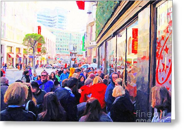 On The Day Before Christmas . Stockton Street San Francisco . Photo Artwork Greeting Card