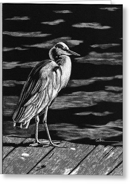 On The Dock In The Bay Greeting Card by Diane Cutter