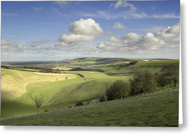 On The Downs Greeting Card by Hazy Apple