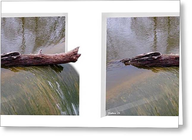 Wye Mills Greeting Cards - On The Edge - Gently cross your eyes and focus on the middle image Greeting Card by Brian Wallace