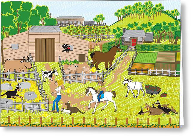 On The Farm Greeting Card by Diana-Lee Saville