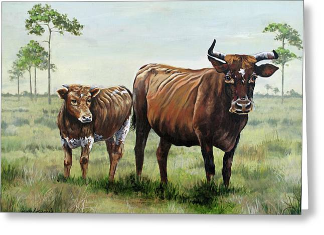 On The Florida Prairie Cracker Cattle Greeting Card