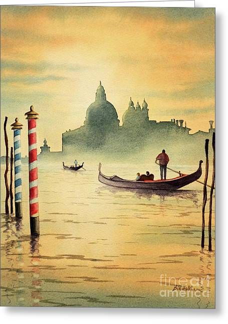 On The Grand Canal Venice Italy Greeting Card by Bill Holkham