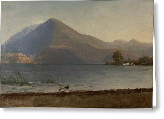 On The Hudson Greeting Card by Albert Bierstadt