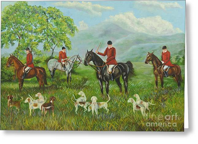 Fox Hunting Greeting Cards - On The Hunt Greeting Card by Charlotte Blanchard